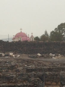 View to the Greek Orthodox Monastery from Capernaum