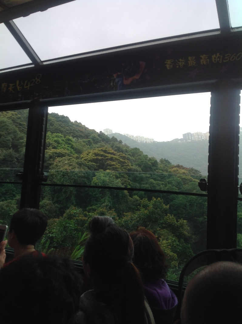 On the tram to the Peak