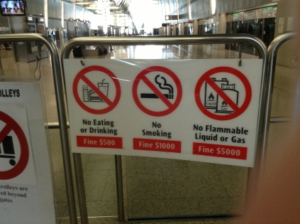 Laws and bans in the Changi station
