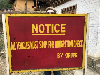 Immigration checkpoint on the road to Punakha