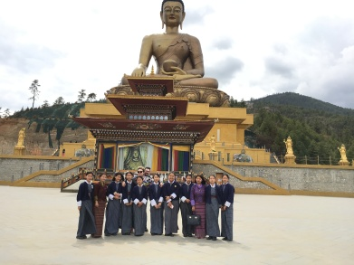 Common picture with the Schoolgirls in front of Buddha statue in Thimphu