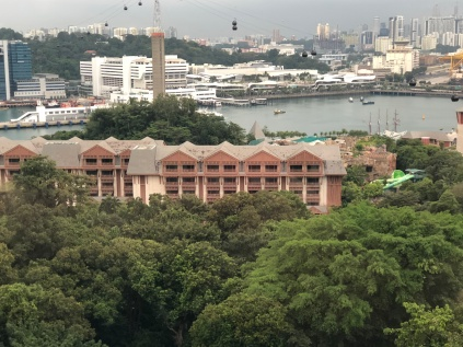 Views from the cable car to Sentosa Island