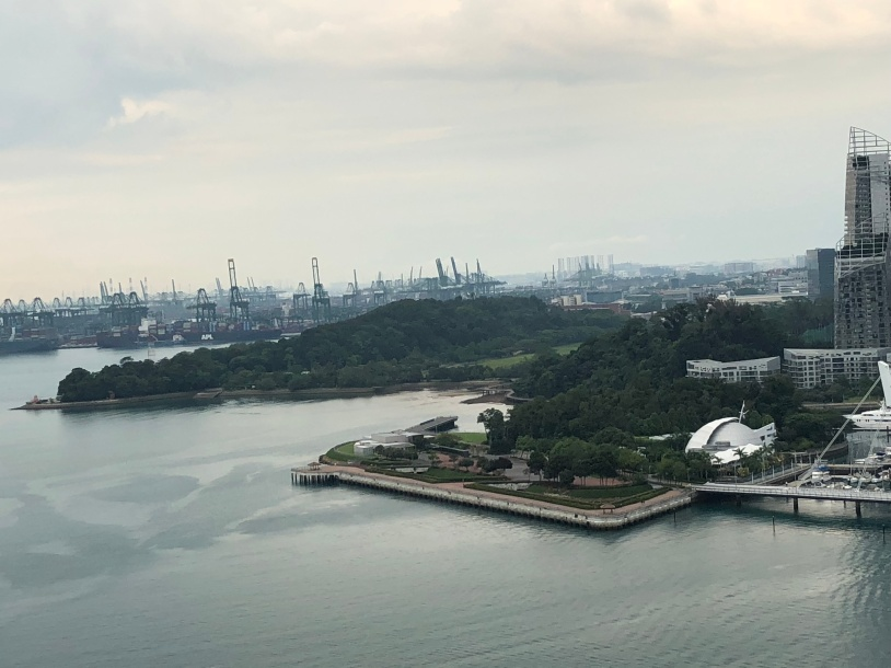 View from the cable car to Sentosa Island