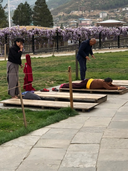 Prayers in front of the National Memorial Chorten