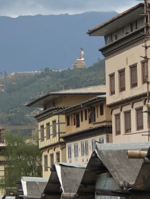 View on the Buddha statue from Thimphu