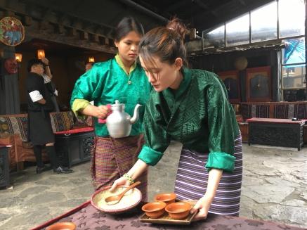 Folk heritage museum Thimphu - serving the butter tea