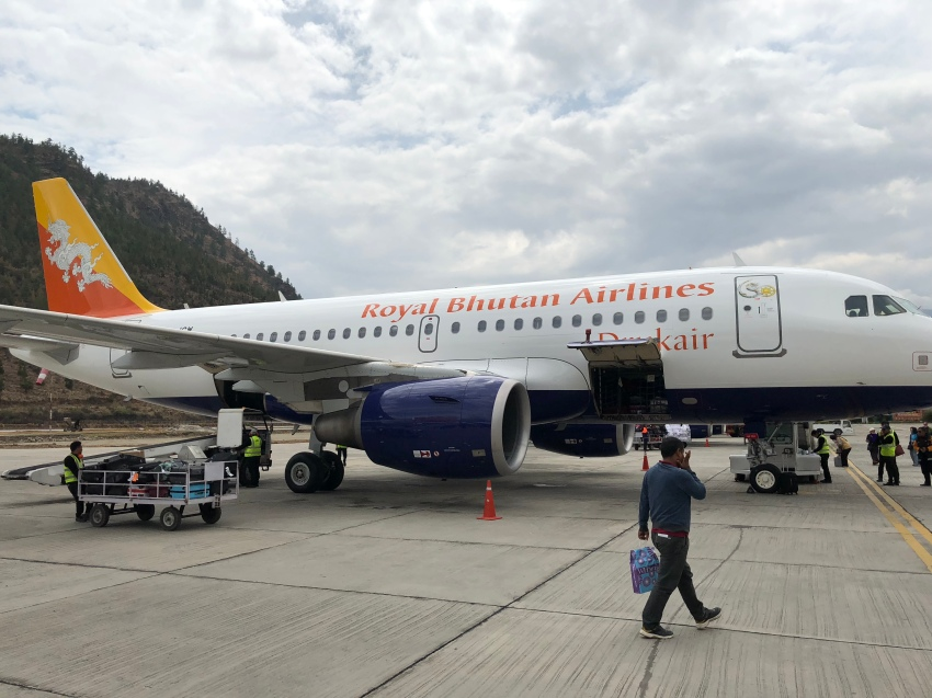 Paro airport and our aircraft after miraculous landing