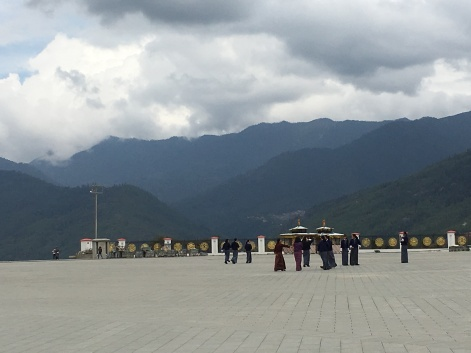Schoolgirls in front of the Buddha statue in Thimphu