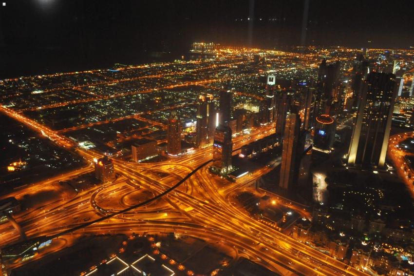 Dubai - view from Burj Khalifa on Sheikh Zayed Road