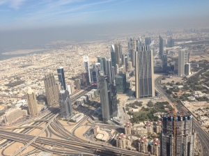 View from Burj Khalifa onto Sheikh Zayed Road