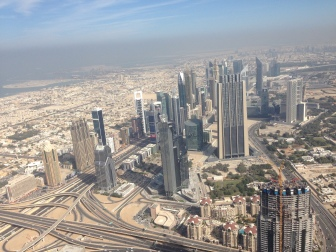 View from Burj Khalifa onto Sheikh Zayed Road