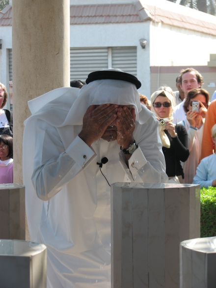 Purification ceremony before entering Jumeirah Mosque