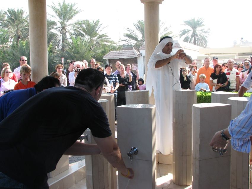 Purification ceremony in front of Jumeirah Mosque
